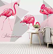 Tapete 3D Vlies Seidentuch Flamingo