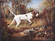 The Tile Mural Store - Pointer with Quail by Judy