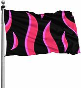 Tiffany Church Red Flames Outdoor Flag - Lebendige