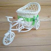 VBJDKB Retro Modern Rattan Tricycle Bike Basket