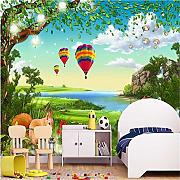 Wandbild, 3D, Cartoon 3D Landschaft Wald