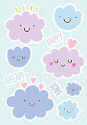 Wandsticker Happy Clouds