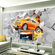 Wolipos 3D Tapete Wandbild Flame Car Painting